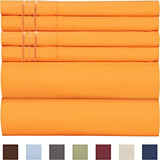 King Size Sheet Set - 6 Piece Set - Hotel Luxury Bed Sheets - Extra Soft - Deep Pockets - Easy Fit - Breathable & Cooling Sheets - Wrinkle Free - Comfy - Light Orange Bed Sheets - Kings Sheets - 6 PC