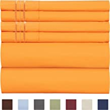 California King Size Sheet Set - 6 Piece Set - Hotel Luxury Bed Sheets - Extra Soft - Deep Pockets - Easy Fit - Breathable & Cooling - Wrinkle Free - Comfy - Light Orange - Cali Kings Sheets