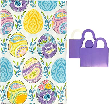 """Spring Vinyl Tablecloth Easter Eggs with Colorful Flowers Paisley Dyed Prints - Flannel Backed Vinyl Tablecloth (52"""" x 90"""
