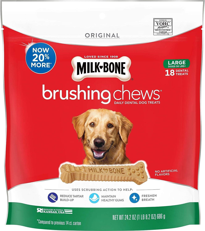 MilkBone Brushing Chews Daily Dental Dog Treats, Large, 24.2 Ounce Pouch