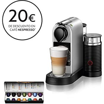Krups Nespresso CitiZ&Milk XN761B - Cafetera Monodosis Cápsulas, 19 bares, Depósito Agua 1 L, Apagado Automático, Acero, con Aeroccino: Amazon.es: Hogar