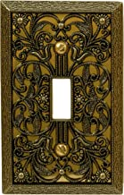 Amerelle Filigree Single Toggle Cast Metal Wallplate in Antique Brass