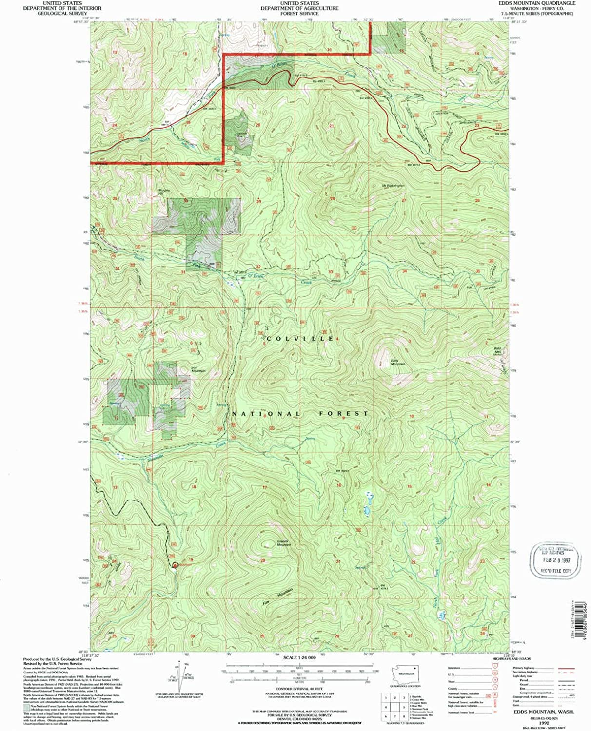 Edds Mountain WA topo map, 1 24000 Scale, 7.5 X 7.5 Minute, Historical, 1992, Updated 1996, 27.1 x 22.2 in