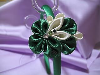 Fascinator con fiori verdi Kanzashi