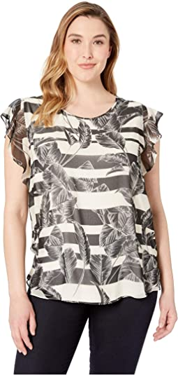 Plus Size Flutter Sleeveless Tropical Shadows Chiffon Blouse