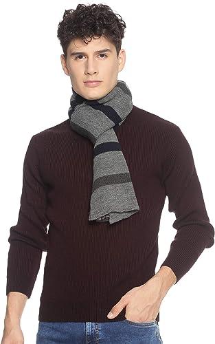 513 Men Acrylic Woolen Casual Winter Wear Striped Knitted Warm Premium Mufflers Grey