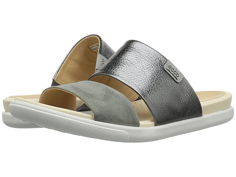 ECCO Damara Slide Sandal II (Dark Shadow/Moon Cow Leather/Nubuck) Women