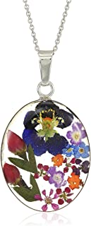 Sterling Silver Pressed Flower Oval Pendant Necklace, 18