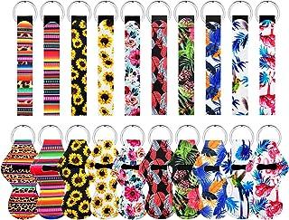 20PCS Pieces Chapstick Holder Keychains Lipstick Holder Keychains Neoprene Wristlet Keychain Lanyards, Vibrant Colors Suit...