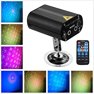 Laser Party Lights with Vivid LED Background, Sound Activated, Stage Laser and LED Lights for Parties, Thanksgiving, Xmas, Birthday, Wedding, Show, KTV, Bar, Club, Pub, DJ