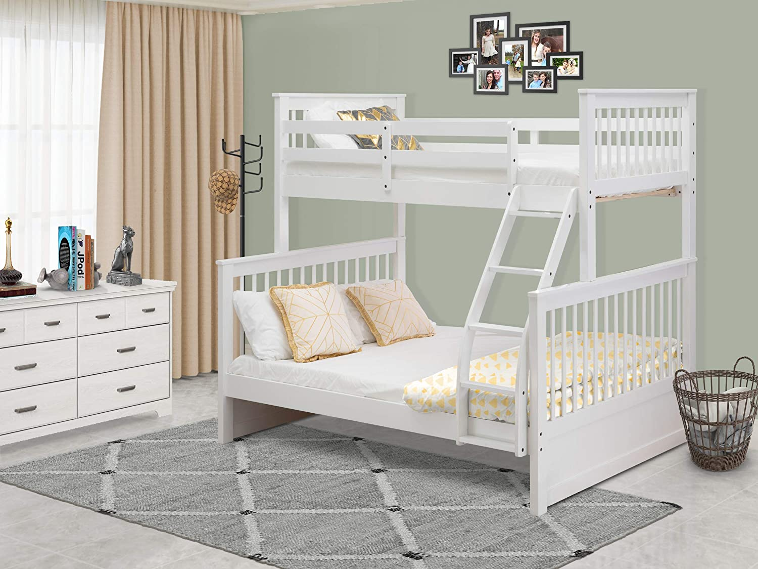 Amazon Com East West Furniture Odb 05 W Kids Bunk Bed Bedroom Sets Twin Full White Home Kitchen