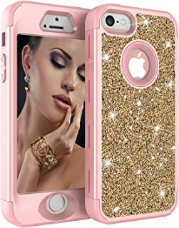 iPhone 5S Case, iPhone 5 Case,iPhone SE Case, Ankoe Luxury Glitter Sparkle Bling Shiny Heavy Duty Hybrid Sturdy Armor Defender High Impact Shockproof Cover Case for Apple iPhone 5 5S SE (Yellow/Pink)
