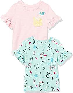 Spotted Zebra Camisetas de Manga Corta con Volantes Niñas, Pack de 2