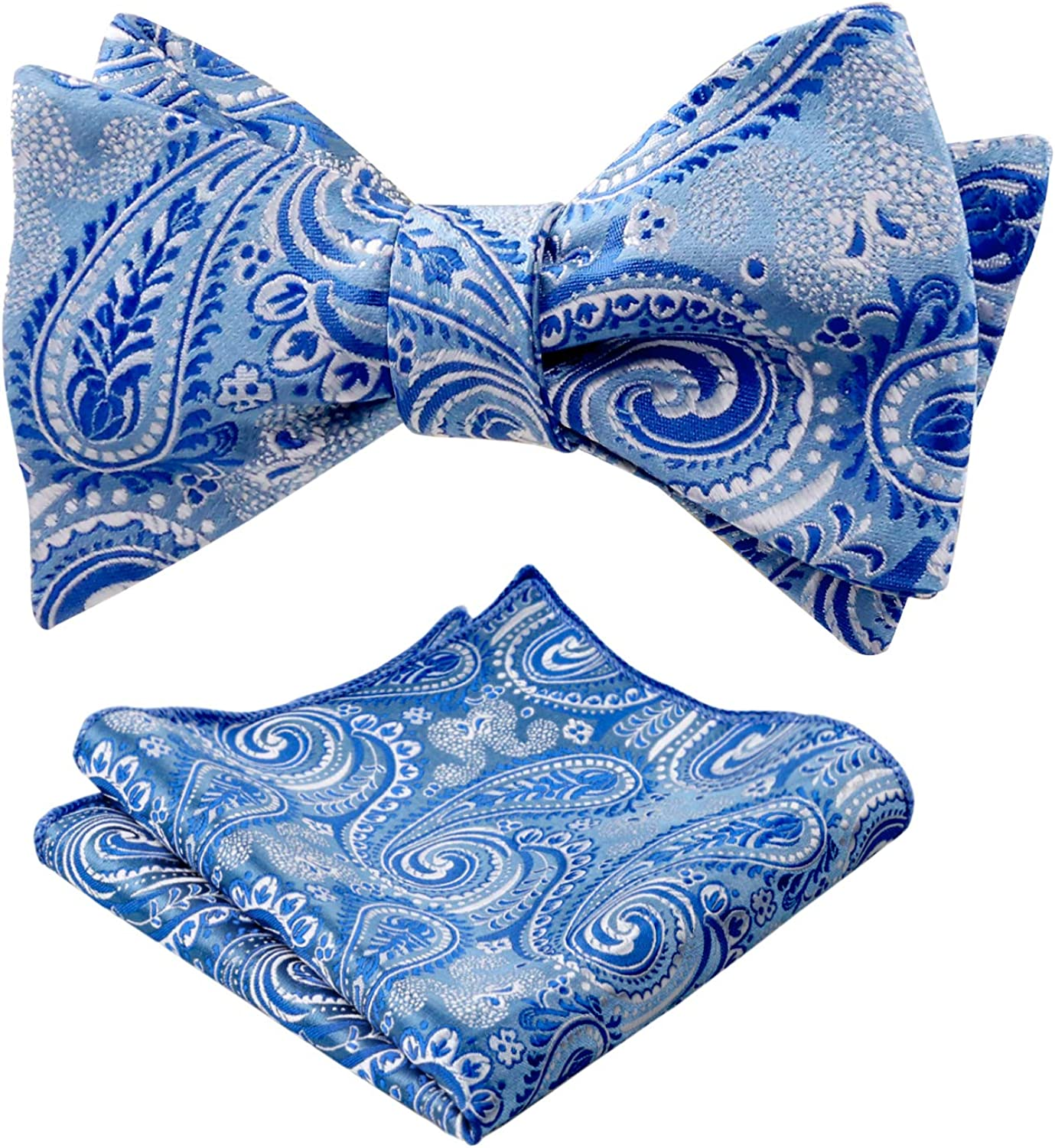 Alizeal Mens Paisley Floral Self-tied Party Prom Bowtie and Hanky Set