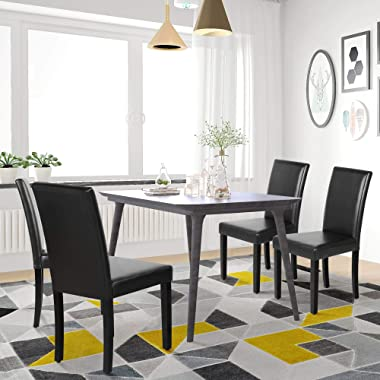YAHEETECH Dining Chair Dining/Living Room PU Cushion Diner Chair High Back Padded Kitchen Chairs with Solid Wood Legs Set of