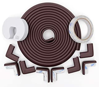 Store2508® Child Safety Strip Cushion 5metres (16.4 Feet) & 8 Pre Taped Corner Guards Cushion with Genuine 3M 9448A Tape for Baby Safety Child Proofing. (Brown)