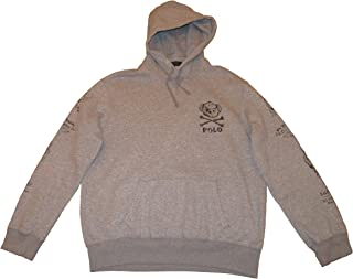 Polo Mens Big and Tall Fleece Bear Graphic Pullover Hoodie Grey