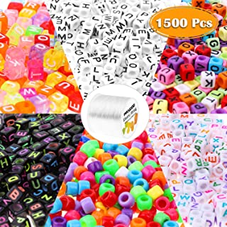 Beads for Bracelets, Paxoo 1500Pcs Bead Bracelet Making Kit with Pony Beads, Alphabet Letter Beads and 1 Roll of 100M Elas...