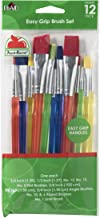 Apple Barrel Multicolor Variety 12-Piece Brush Set | Value Pack Brushes | Easy Grip Acrylic Handle | Use for Craft, Acryli...