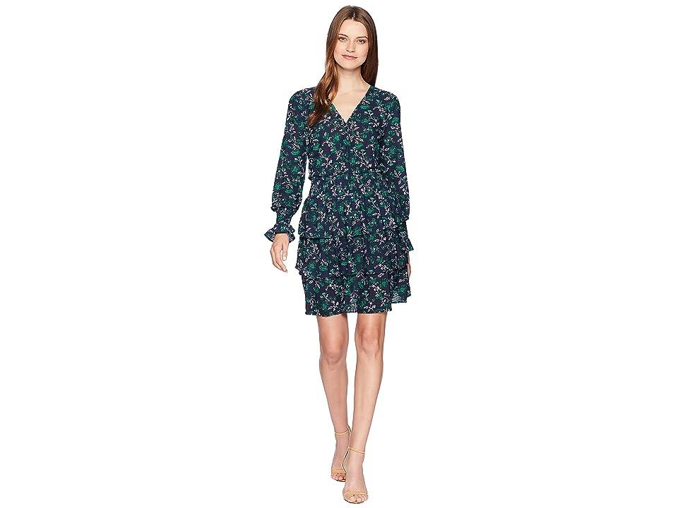 MICHAEL Michael Kors Boho Fleur Multi Tier Dress (True Navy/Jewel Green) Women