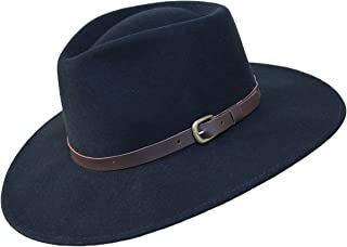 B&S Premium Lewis Fedora Hat with Wide Brim 100% Wool Felt Waterproof Leather Band
