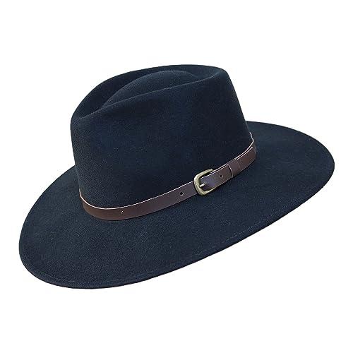cdbca5013b0f7 B S Premium Lewis - Sombrero de ala Ancha Fedora - 100% Fieltro de Lana -