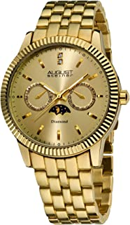August Steiner Men's Dressy Coin Edge Bezel Diamond Watch - Sunburst Dial with Day of Week and Date Subdial - Sun and Moon Window