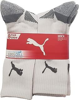 Puma Men's Crew Sock Moisture Control, 8 Count, Sock size 10-13, Shoe size 6-12, Grey
