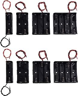 LAMPVPATH (Pack of 8) AA Battery Holder Bundle 2Pcs Single AA Battery Holder, 2Pcs 2X 1.5V AA Battery Holder with Leads, 2Pcs 3X 1.5V 3 AA Battery Holder with Wire, 2Pcs 4X 1.5V 6 Volt Battery Holder