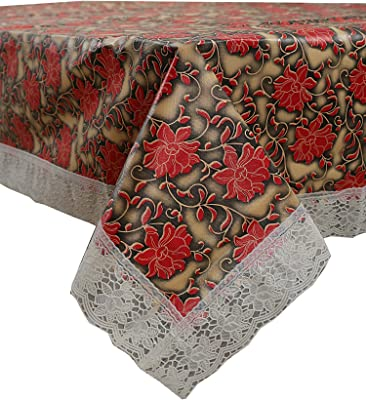 Kuber Industries Floral PVC 6 Seater Dining Table Cover - Red (CTKTC02087)