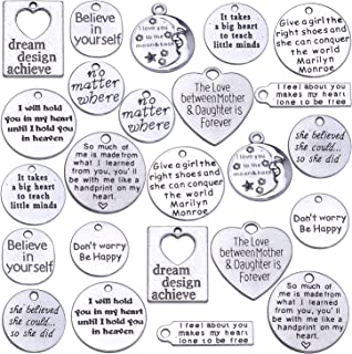 Jdesun 24 Pieces Inspiration Words Charms, 12 Styles Inspirational Message Charm Pendants for Crafting Necklace Bracelet