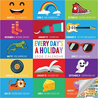 Every Day's A Holiday Calendar 2020 Set - Deluxe 2020 Holiday Every Day Wall Calendar with Over 100 Calendar Stickers (National Holiday Gifts, Office Supplies)