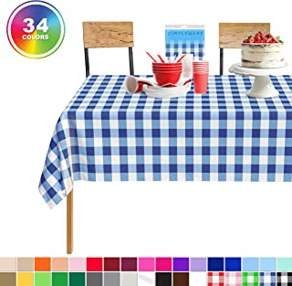 Blue Gingham Checkered 12 Pack Standard Disposable Plastic Party Picnic Tablecloth 54 Inch. x 108 Inch. Rectangle Table Cover By Zimpleware