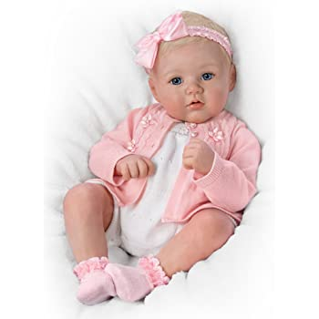 The Ashton-Drake – New-born Baby Girl Doll 'Perfect In Pink Annika' by Marissa May - With RealTouch® Realistic Vinyl Skin