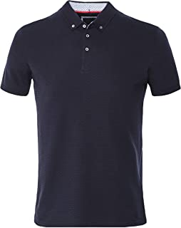 Men's Textured Cotton Polo Shirt Navy
