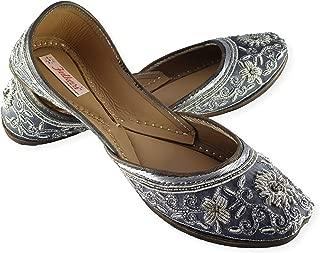 Fulkari Prime Marigold Women's Soft Leather Bite and Pinch Free Punjabi Flat Ladies Jutti Ethnic Mojari Shoe
