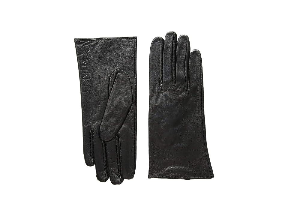 Calvin Klein Leather/Suede Gloves w/ Debossed Logo (Black) Extreme Cold Weather Gloves