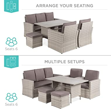 Best Choice Products 7-Seater Conversation Wicker Sofa Dining Table, Outdoor Patio Furniture Set w/Modular 6 Pieces, Cushions