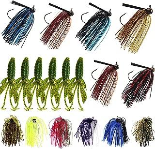 Bass Football Jigs Trailers Skirts Kit-18Pcs Bass Swim Jigs Silicon Rubber Skirt Artificial Baits Creature Baits Fishing Lure Kit Flipping Jig for Bass Fishing