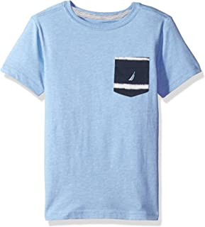 Nautica Boys' Short Sleeve Solid Crew-Neck Pocket T-Shirt, Sky Blue, Small (4)