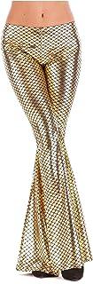 DressU Women's Stretch Plus Size Flared Flower Print Chino Pants