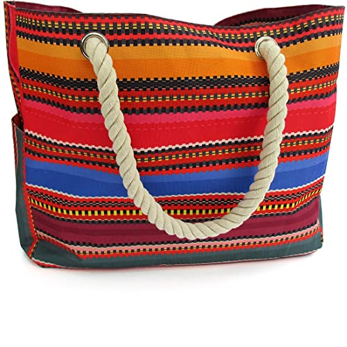 db15a1db6a30e OdyseaCo - Baja Beach Bag - Large Waterproof Canvas Beach Tote Bag w Zipper