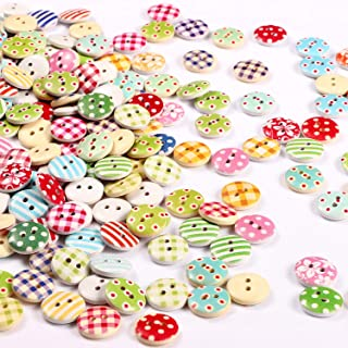 Mixed Wooden Buttons 2 Holes Round Crafts Buttons 15 mm Colorful Painting Buttons for Sewing Crafting Scrapbooking (400)