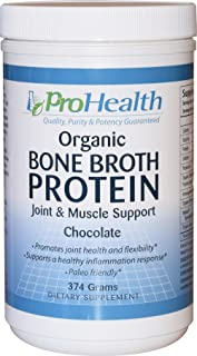 ProHealth Organic Bone Broth Protein - Joint and Muscle Support Formula (374 Grams - Natural Chocolate Flavor)