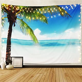 Martine Mall Tapestry Wall Tapestry Wall Hanging Tapestries Ocean Tapestry Exotic Hawaii Beach Water and Coconut Palm Tree by The Shore Wall Hanging for Bedroom Living Room Dorm