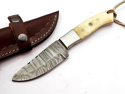 Am Best Custom Handmade Hunting Knife Bushcraft Knife Damascus Steel Survival Knife 9'' Overall Walnut Wood With Sheath (Hunting knife Camel Bone)