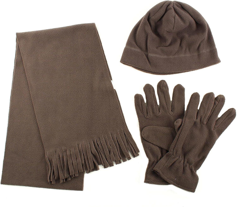 Winter Men's 3pc Fleece Set Beanie Cap Hat Gloves Fringe Scarf Gift Set