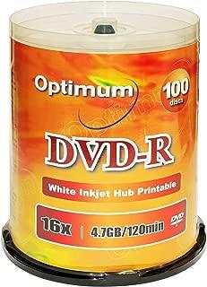 Optimum DVD-R 16x 4.7GB / 120min White Inkjet Printable 100pk with Spindle Cake Box