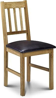 Julian Bowen Coxmoor Solid Oak Dining Chairs, Oak, Brown, Set of 2