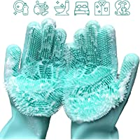 Apsung Silicone Dishwashing Cleaning Gloves with Wash Scrubber